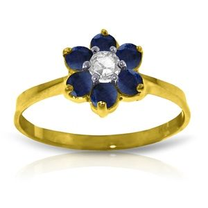 SOLID GOLD RING WITH NATURAL DIAMOND & SAPPHIRES